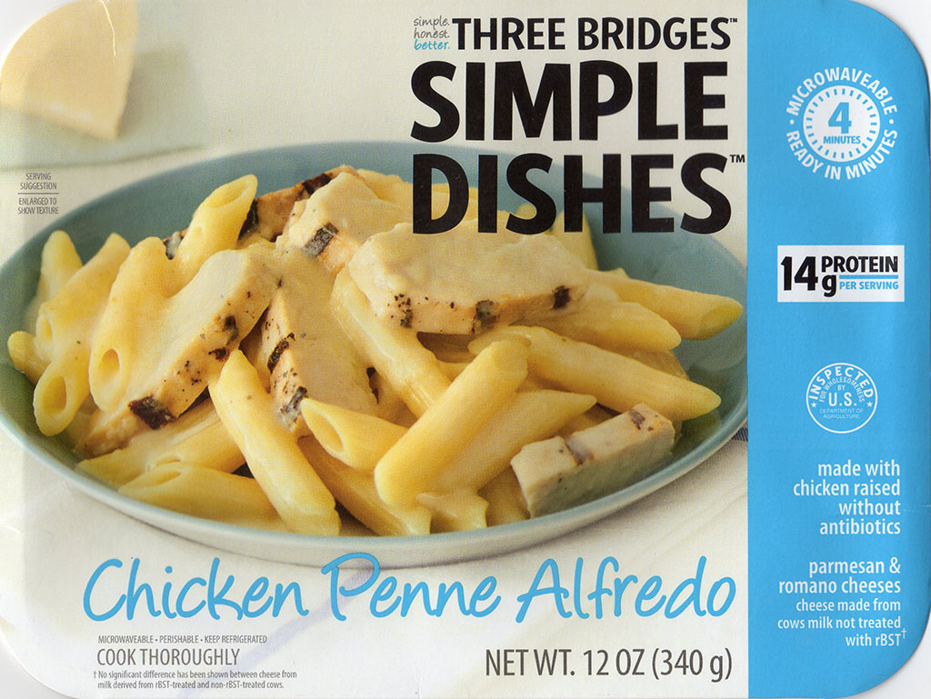 Three Bridges Chicken Penne Alfredo package front