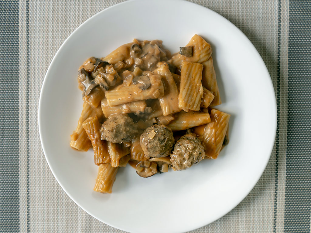 Three Bridges Rigatoni Meatballs And Mushroom Cream Sauce cooked