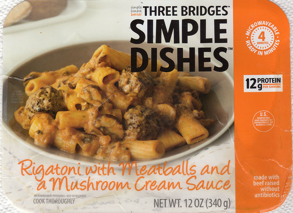 Three Bridges Rigatoni Meatballs And Mushroom Cream Sauce package front