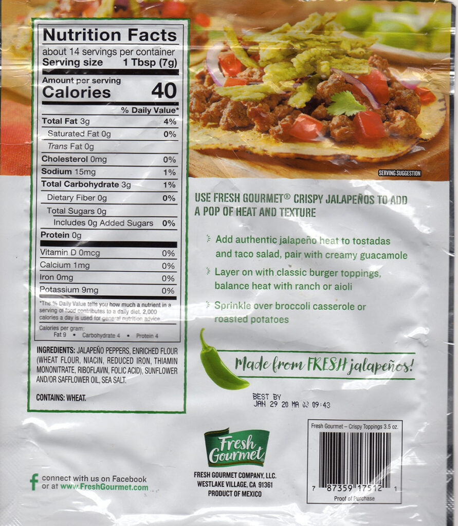 FResh Gourmet Crisp Jalapenos ingredients and nutrition
