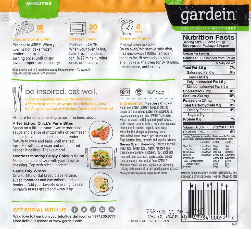 Gardein Seven Grain Crispy Tenders package rear