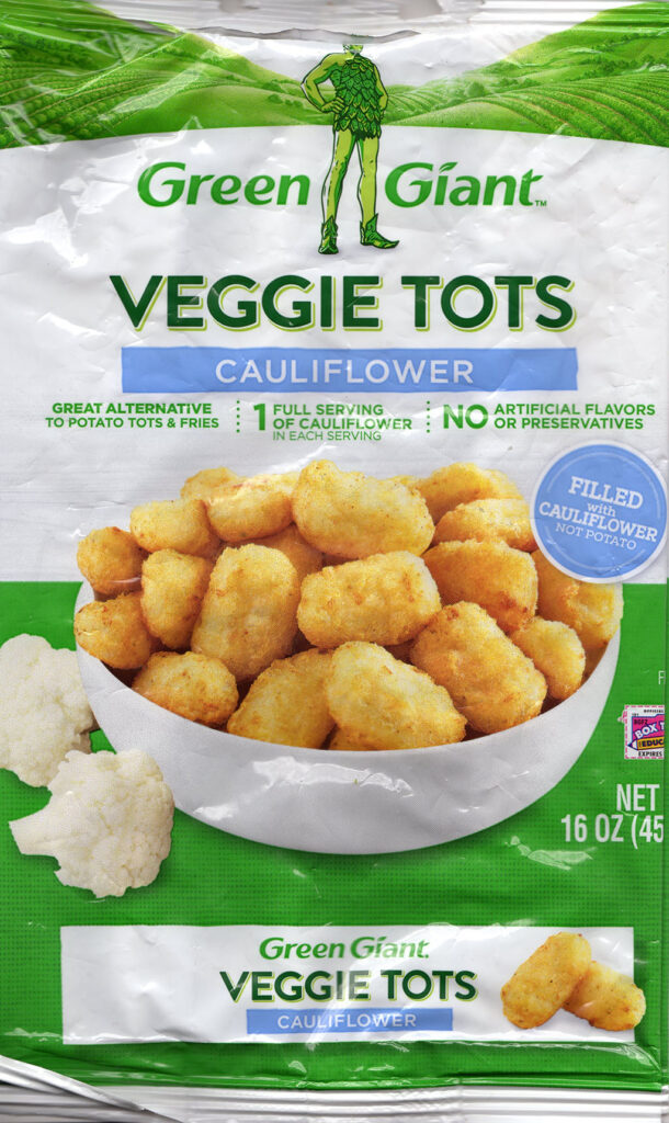 Green Giant cauliflower veggie tots package front