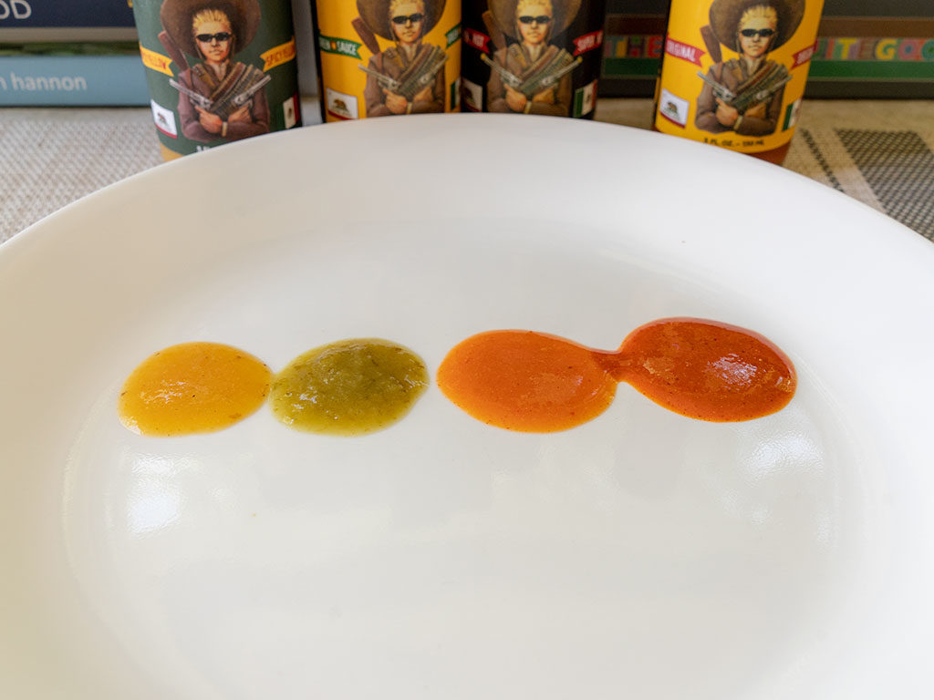 Gringo Bandito hot sauces plated