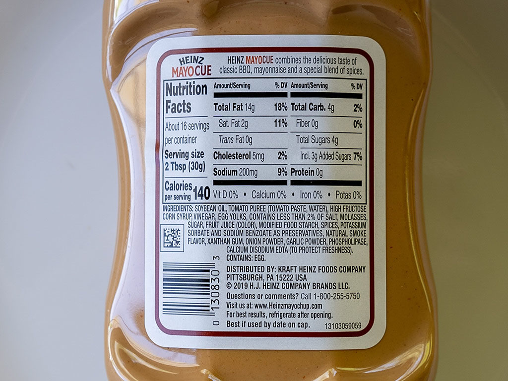Heinz MayoCue sauce ingredients and nutrition