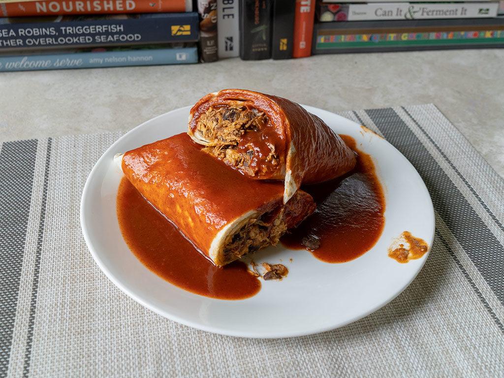 Rotisserie chicken enchilada with rosarita enchilada sauce