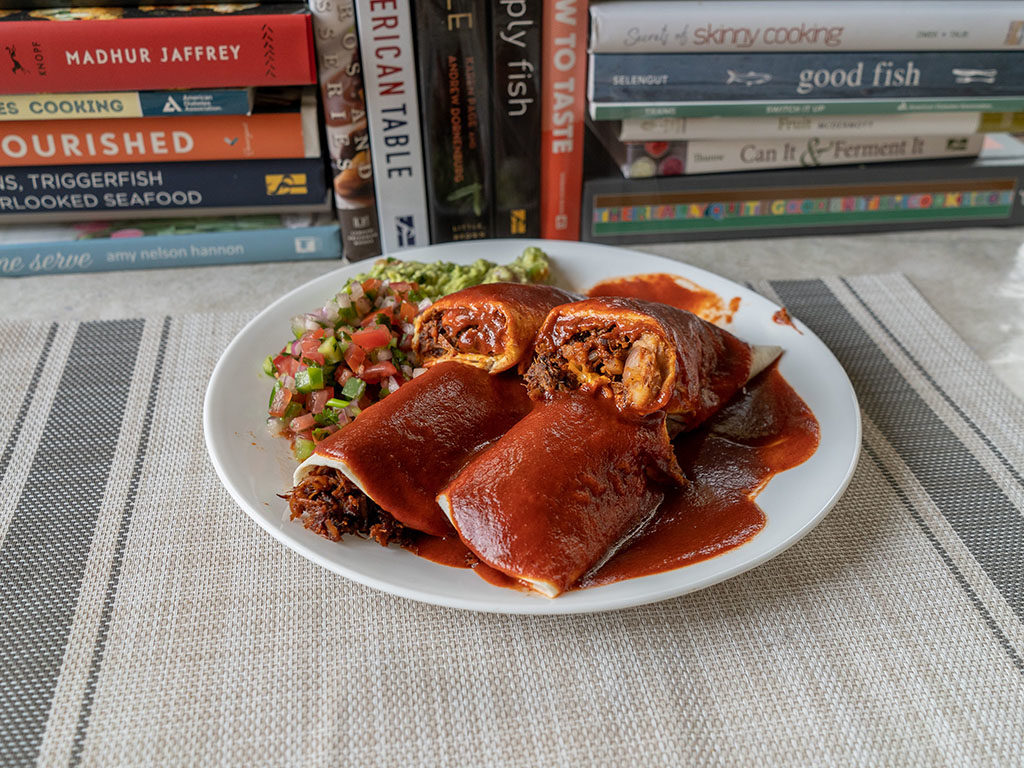 Rotisserie chicken enchilada with rosarita enchilada sauce