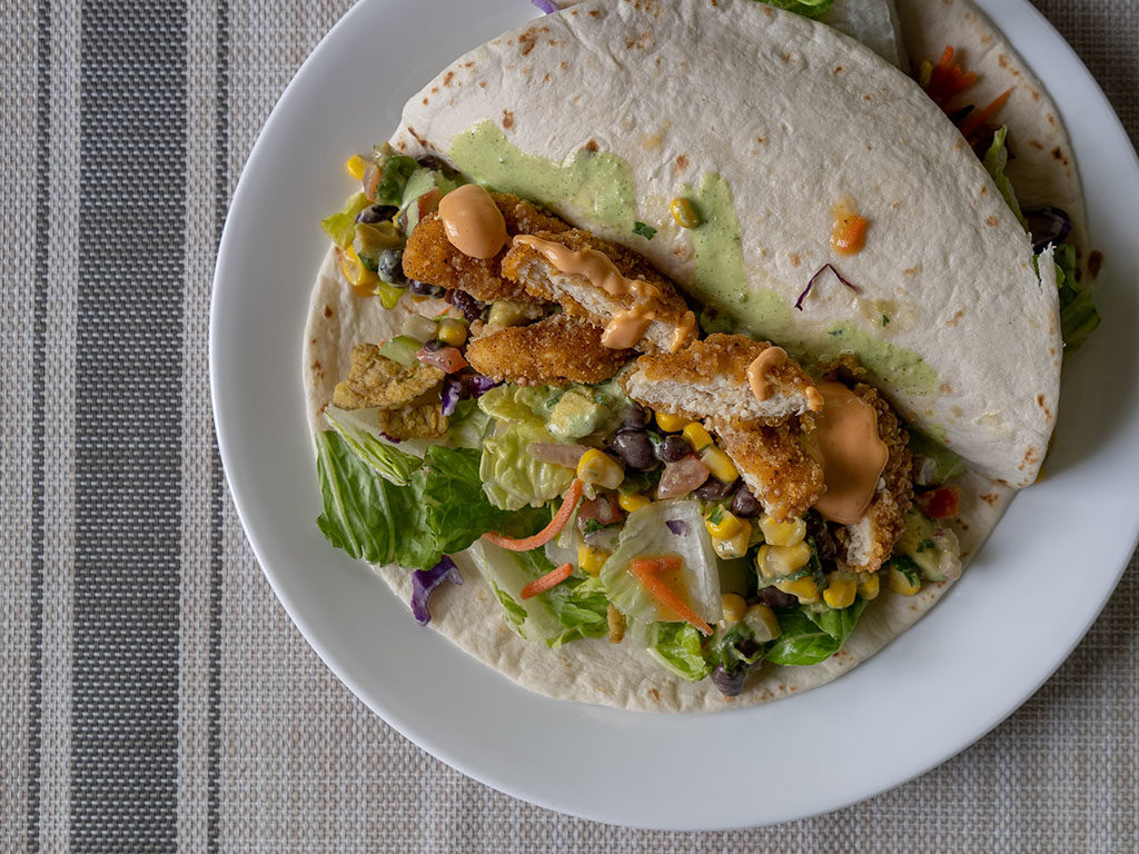 Taco with Tyson naturals chicken nugget and fresh gourmet crisp jalapenos