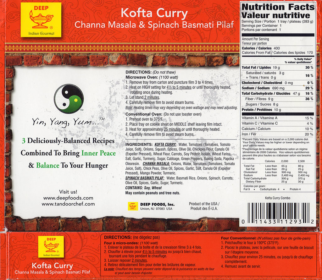 Tandoor Chef Kofta Curry cooking instructions and nutrition