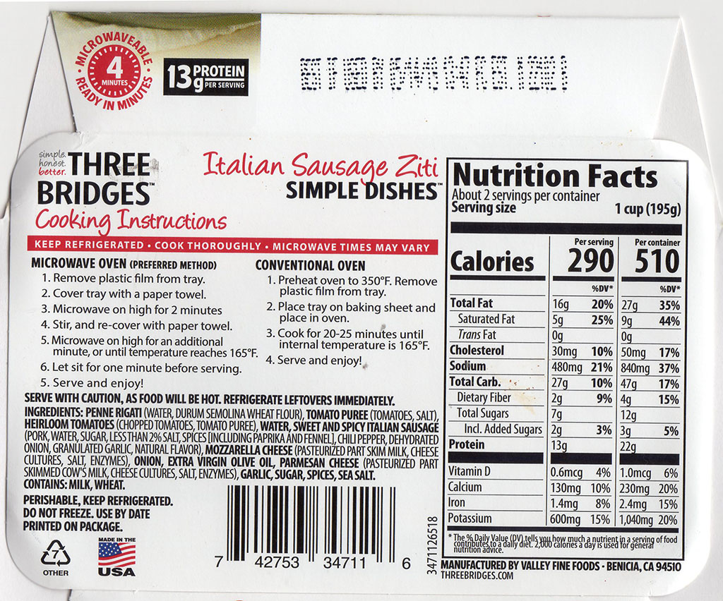 Three Bridges Italian Sausage Ziti cooking instructions and nutrition