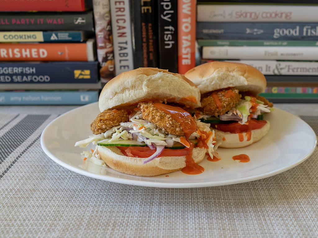 Tyson Naturals Breaded Nuggets on bun with buffalo sauce