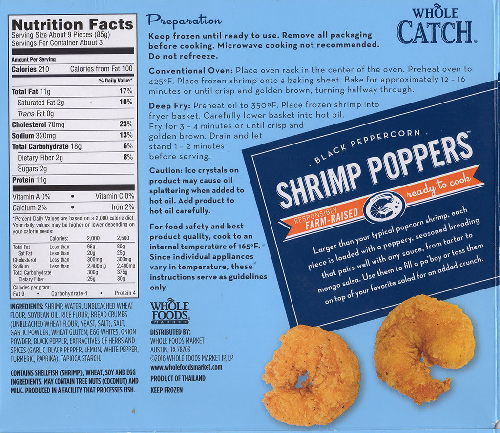 Whole Catch Shrimp Poppers cooking instructions, nutrition