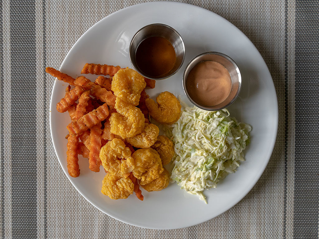Whole Catch Shrimp Poppers with alexia sweet potato fries